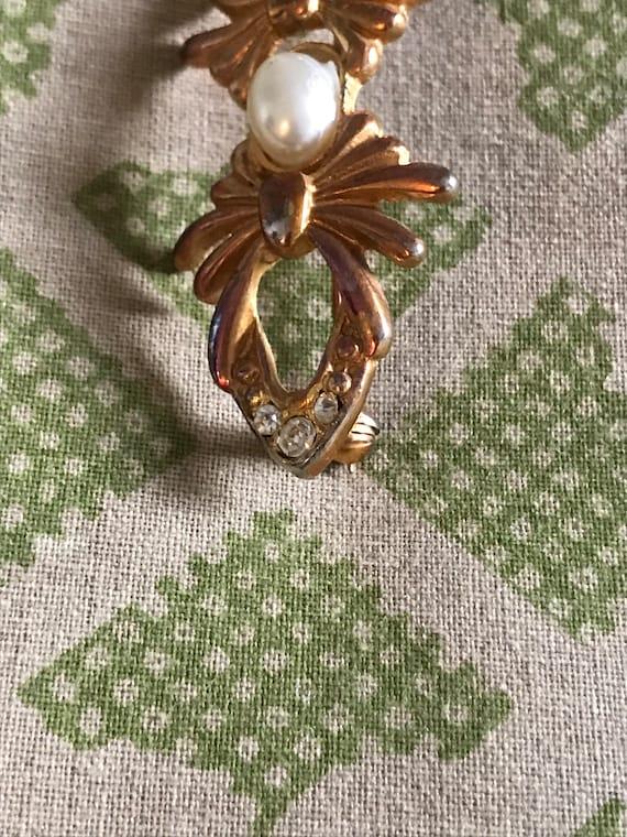 Vintage Pearl Brooch, Gold Brooch, Rhinestone Bro… - image 6