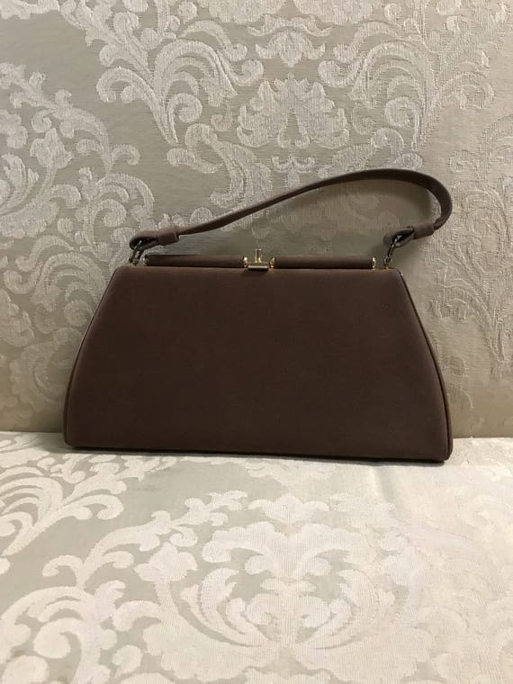 Vintage Kiss Lock Suede Handbag Brown Handbag Brown Purses   Etsy 55c056e147