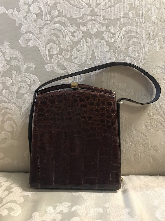 Vintage Kiss Lock Brown Handbag Leather Handbag Brown   Etsy fac5cbfc3a