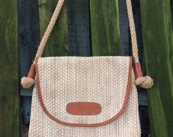 Vintage Straw Bag, Shoulder Bag, Straw Cross Body, Leather Shoulder Bag, Hobo Bag, Straw Shoulder Bag, Vintage Handbags, Vintage Straw Purse