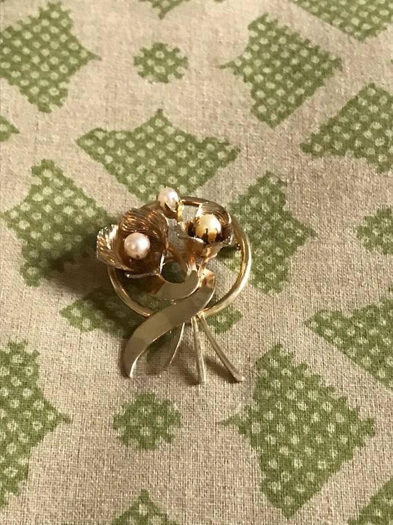 Vintage Pearl Brooch, Gold Brooch, Vintage Brooch… - image 6
