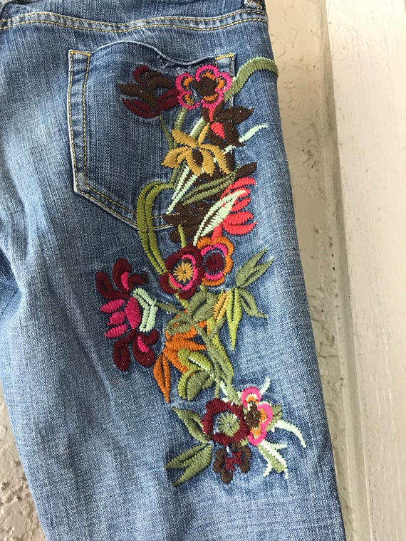 Vintage Jeans, Embroidered Jeans, Distressed Jean… - image 3