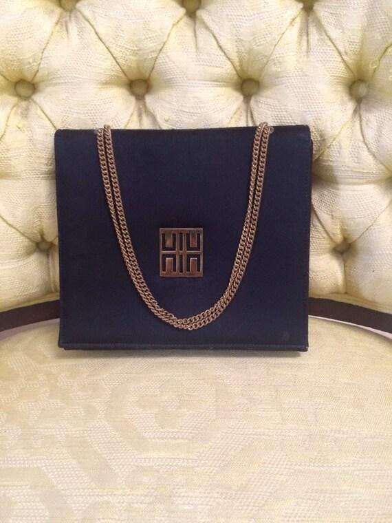 Vintage Evening Bag, Black Evening Bag, Gold Chain