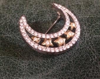 Vintage Brooch, Moon Brooch, Stars Brooch, Vintage Brooches, Brooches, Moon and Stars Pin, Vintage Pins, Rhinestone Brooch