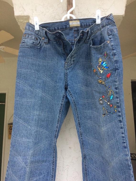 Vintage Jeans, Embellished Jeans, 1970's Jeans, Si