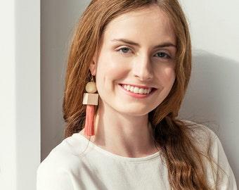Wood Bead Earrings, Modern Earrings, Geometric Tassel Earrings, Tassel Earrings, Geometric Earrings, Statement Earrings, Fashion Earrings