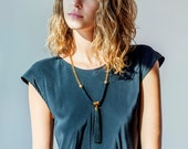 Tassel Necklace, Black Tassel Necklace, Long Tassel Necklace, Long Boho Necklace, Boho Necklace, Boho Jewelry, Boho Fashion