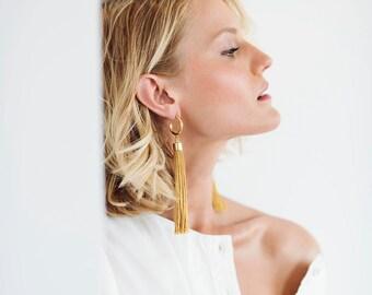 Gold Tassel Earrings, Long Tassel Earrings, Tassel Earrings, Long Earrings, Long Fringe Earrings, Statement Earrings, Lightweight Earrings