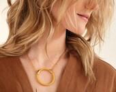 Circle Necklace, Geometric Circle Pendant Necklace, Round Pendant Necklace, Modern Everyday Necklace, Ring Necklace,Pendant Necklace For Her