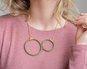 Circle Statement Necklace, Geometric Circle Pendant Necklace, Statement Pendant Necklace, Modern Everyday Necklace, Pendant Necklace For Her