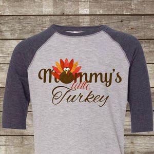 Thanksgiving T-Shirt for Girls Boys Turkey Toddler Raglan Shirt Pocket Print