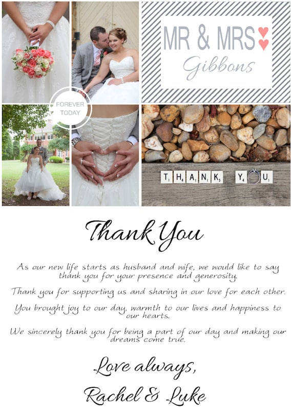 DEPOSIT Thank You Card Wedding Photo Collage