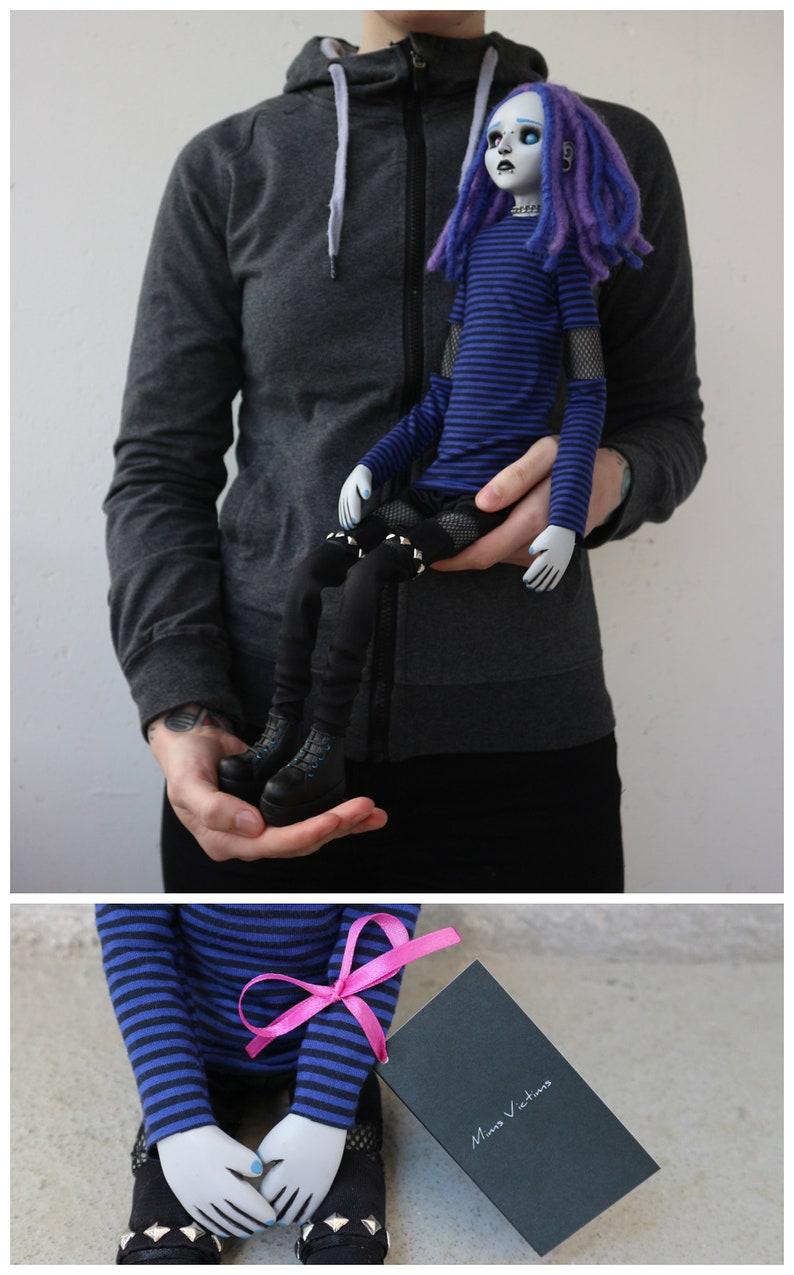 21.7 posable OOAK sad doll Greg goth, emo, horror, creepy, cute, industrial, cyber, punk