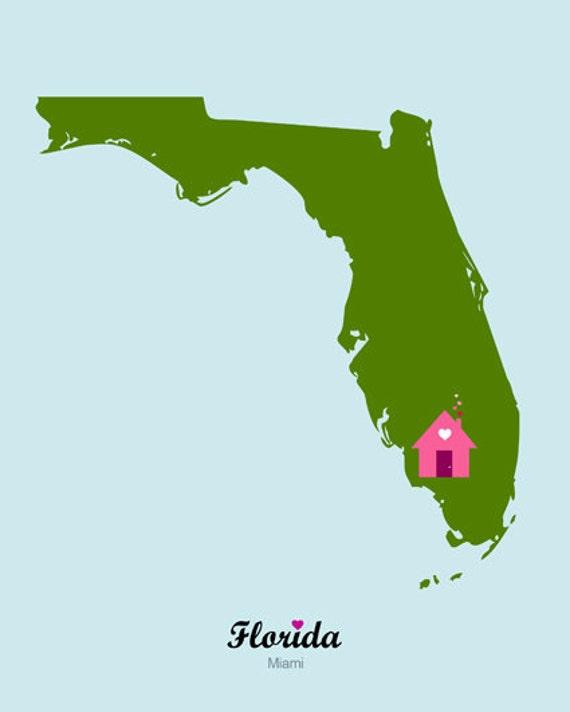Florida Map Printable.Customizable Usa Florida Miami State Map Printable Poster Graphic Design Personalized Print Home Decor Wall Art Gift Digita Instant Download