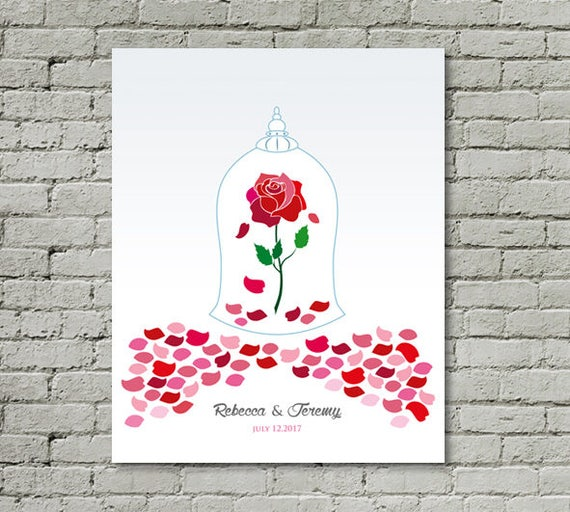Beauty And The Beast Unique Couple Tattoos: Printable Wedding Guest Book Beauty And The Beast Unique