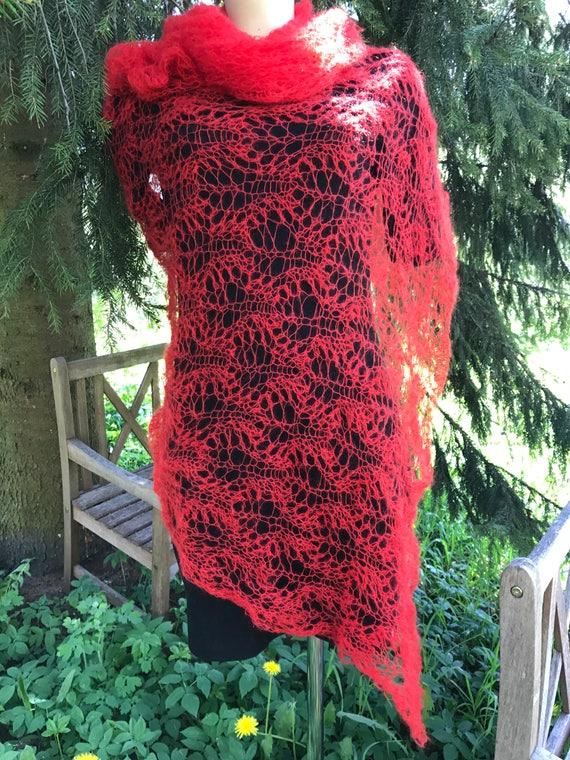 Hand gestrickte Lace-Tuch Blatt-Muster leicht Mohn Rot   Etsy
