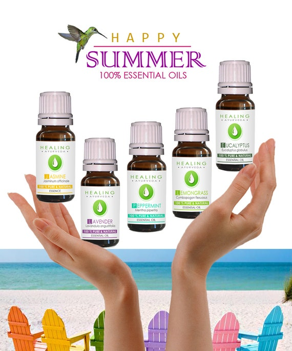 Essential oils Summer kit- Natural healing- 100% Pure essential oils -  therapeutic oils- bath & skin care- Flower essences - herbal oils
