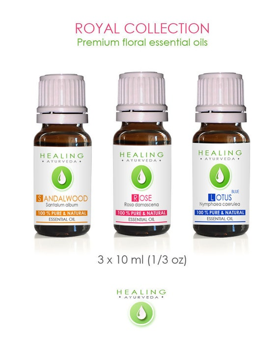 Essential oils set, Aromatherapy essential oils, Rose Otto, Sandalwood oil & Sacred Blue Lotus, Healing Essential Oils Royal Collection