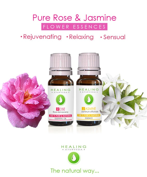 Essential oils set- Flower essentials- Rose otto-Jasmine oil set- Bath & Beauty oils set- -Aromatherapy- Skin care - Sensual- harmonizing