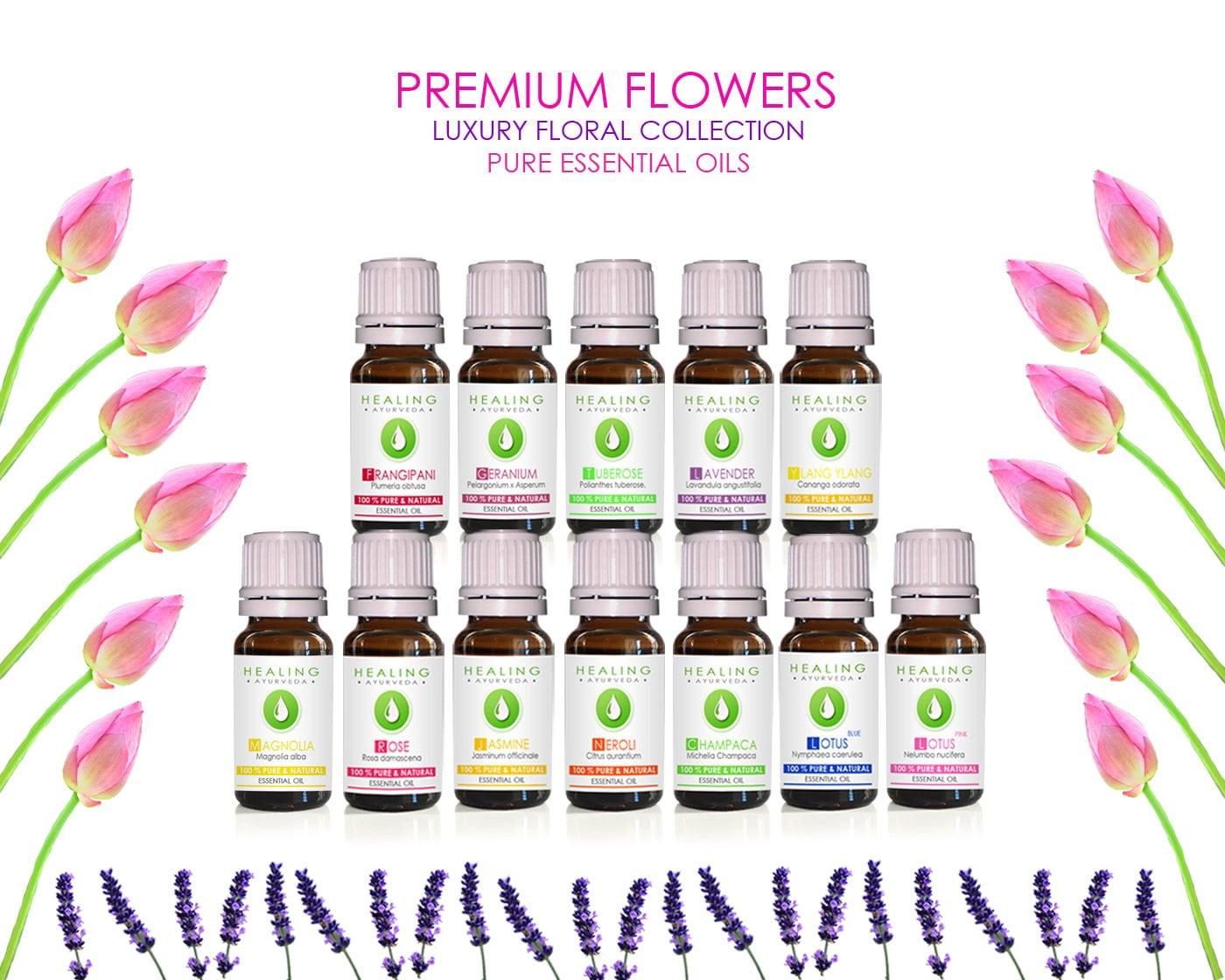 Floral Essential Oils Set Bath And Beauty Oils Organic Flower Oils