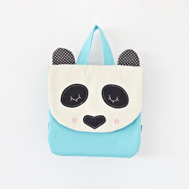 Little Panda backpack handmade backpack panda Collector/'s backpack panda bag blue bag cute panda personalization collector