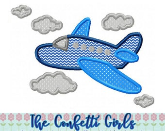 Airplane Applique Machine Embroidery Digital Download