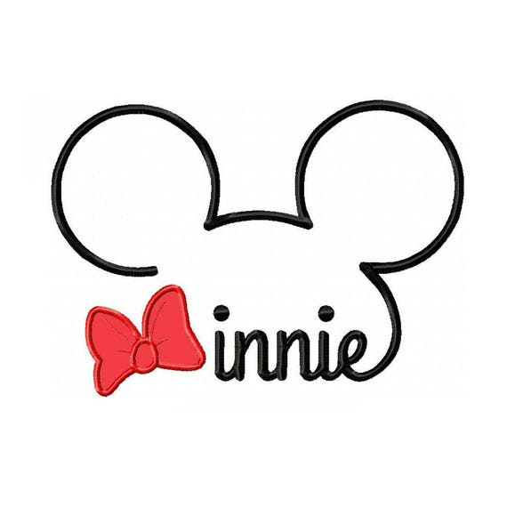 minnie mouse ear outline machine applique and embroidery etsy