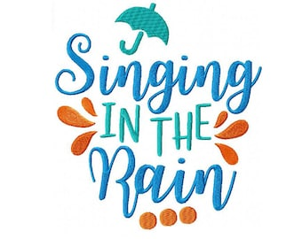 Singing in the Rain Machine Embroidery Digital Download