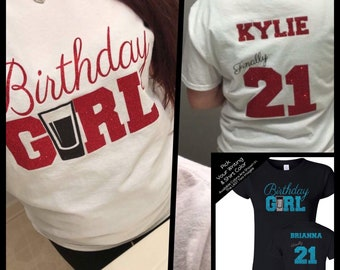 Birthday Girl Finally 21 Shirt with Shot Glass  - Personalize the Name & Colors - All Glitter Option - Gifts for a 21st Birthday