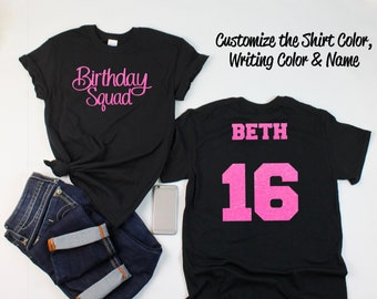 Swirly Birthday Squad Shirt With ANY AGE And NAME