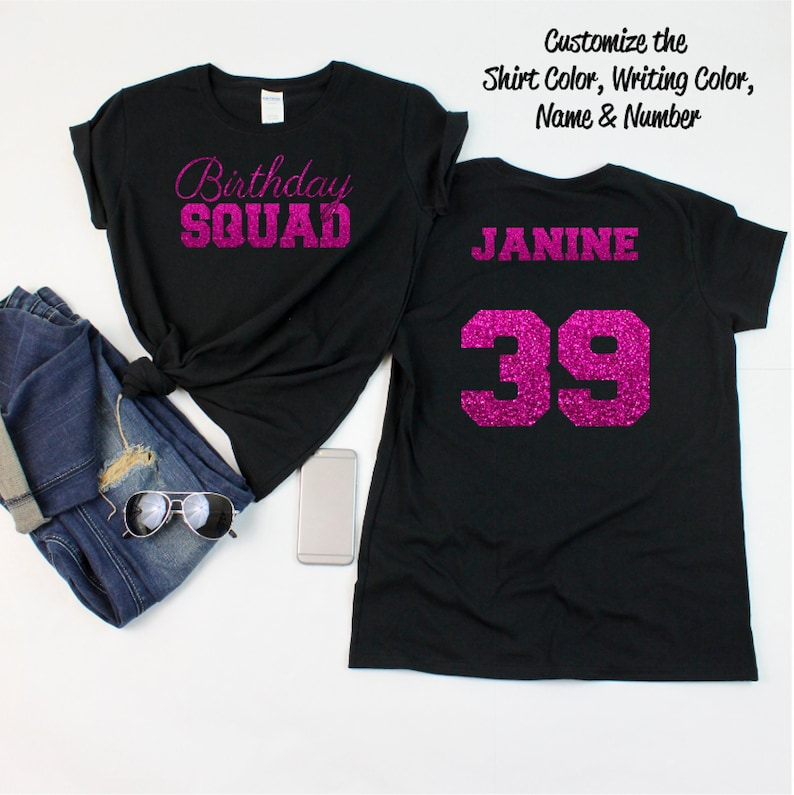 648b572c26 Birthday Squad Shirt with Script Writing Personalize the | Etsy