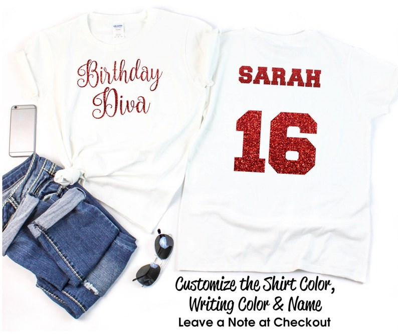 7b5b0152e Script Birthday Diva Shirt with ANY AGE and NAME Personalize   Etsy