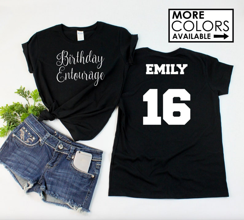 47faa1d43 Script Birthday Entourage Shirt with ANY AGE and NAME   Etsy
