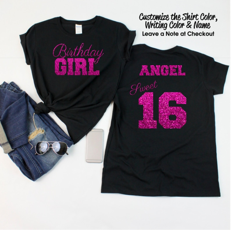 a629bc7e ... t shirt birthday; sweet 16 birthday script shirt personalize the name  and etsy ...