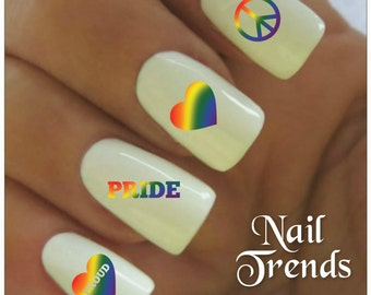 Pride Nail Decal 20  Vinyl Adhesive Decals Nail Tattoos  Nail Art