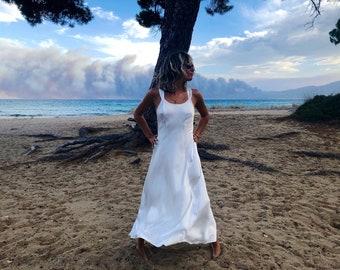 Vintage satin dress / white dress / white satin dress / silky dress / white maxi dress / nightgown dress