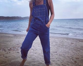 Vintage denim overalls / denim overalls / dark blue jeans / vintage jeans / XS / S
