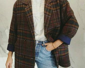 SOLD Vintage wool blazer / 80s jacket/ wool jacket / designer vintage / Bogner blazer / tartan jacket / tartan blazer / oversized /