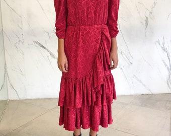 SOLD/Vintage '80s red dress / ruffled dress / red dress / evening dress / 80s dress / maxi dress / ruffles