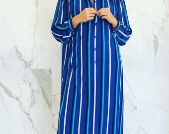 Vintage stripe long shirt dress / blue stripes / maxi shirt dress / long sleeve dress / button down dress / blue / shirt dress / oversized /