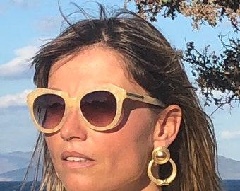 SOLD/Coiled gold drop hoops / organic large hoop earrings / statement earrings / 80s earrings