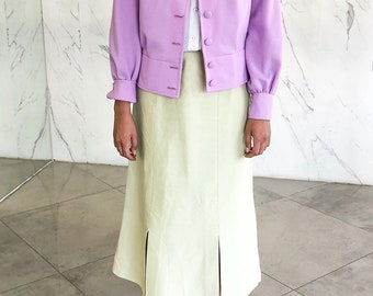 Vintage jacket / '70s jacket / lilac / pointed neck / button down