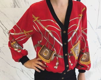 Vintage '80s cardigan / red blouse / celine style print / red cardigan / bold print / '90s style