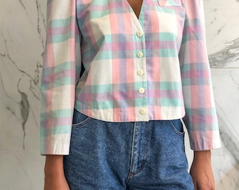 Vinatge check blouse / pastels / cotton / 80s style / 80s blouse / 80s shirt