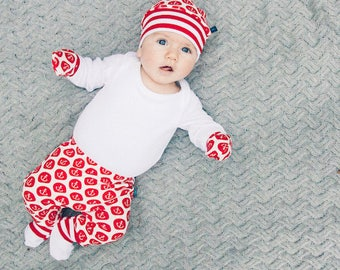 baby gift READY to SHIP  Anchors Newborn gift set baby leggings knotted hat Baby clothes scratch mitts baby trouser organic baby