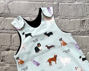 NEW! Dogs baby romper, baby dungarees, toddler romper, toddler dungarees, baby clothes, organic clothes, dogs