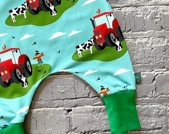 NEW!  Tractor romper, farm romper, baby romper, toddler dungarees, tractors, organic cotton