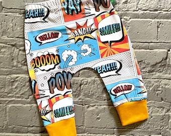 NEW COMIC baby leggings, baby clothes, leggings, girl leggings, boy leggings, baby trousers, baby pants, comic strip