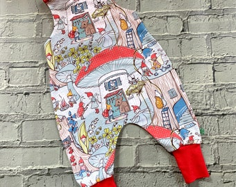 NEW! Gnomes organic romper, stretchy dungarees, romper, kids romper, baby romper, dungarees, baby clothes,  toadstool
