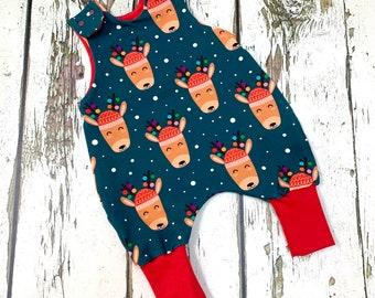 PRE-ORDER!  Reindeer romper, rudolf romper, baby romper, toddler dungarees, Christmas romper, organic cotton, rudolf